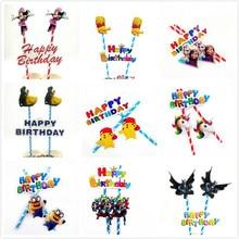 Bear And Minnie batman Beauty and the Beast Unicorn Avengers Anna Elsa cake topper For Kids Birthday