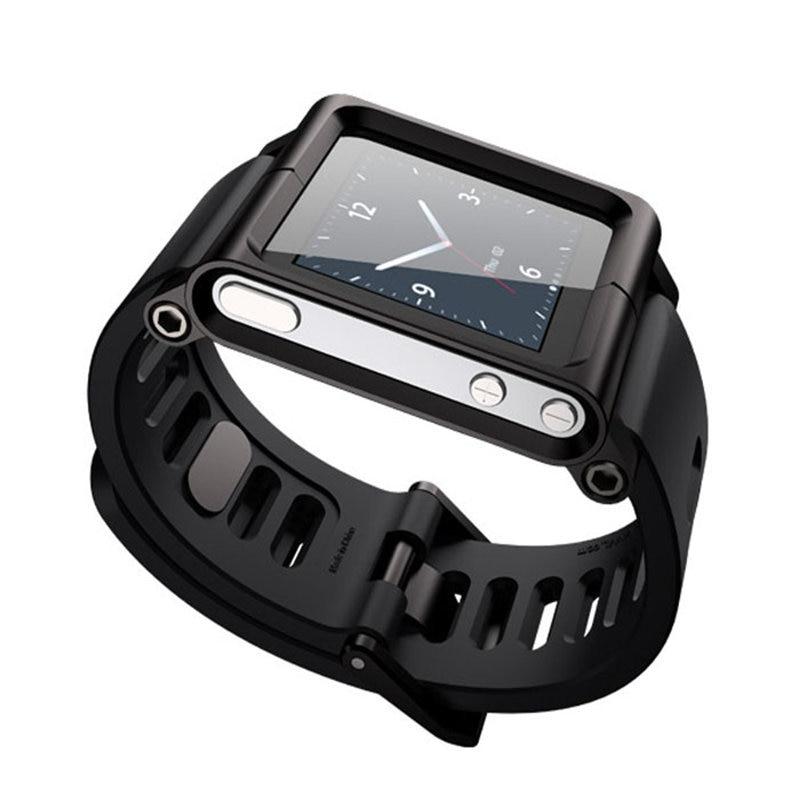 North Black Aluminum Silicone Multi Touch Watch Wrist Strap Aluminum Cover Case For iPod Nano 6