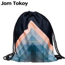 Модный женский рюкзак на шнурке с геометрическими узорами и 3D-принтом, дорожная мягкая сумка mochila на шнурке