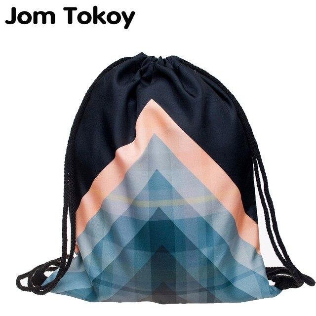 2017 новая мода Женщины Геометрические узоры Рюкзак 3D печать путешествия softback mochila шнурок мешок Школы рюкзаки девушек