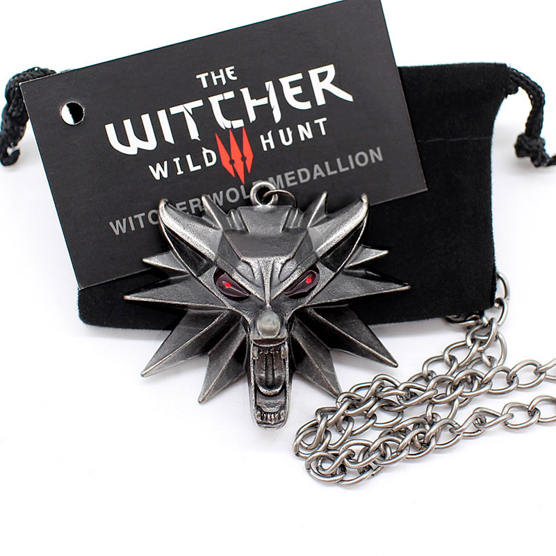 the witcher 3 pendant necklace animal wolf head necklace 1 bag 1 card original quality wholesale