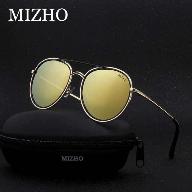 ce6020ac43f7d MIZHO Strong Durable Copper Frame Metal Round Womens Sunglasses Unisex  Polarized Traveling UVA Sunglass Ladies Mirror