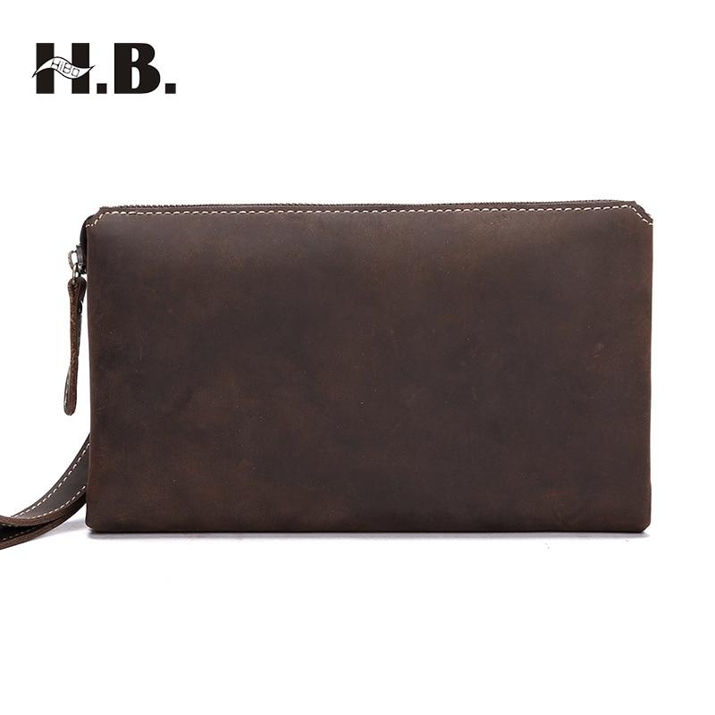 HIBO Fashion Men's Clutch Bag Genuine Leather Men Wallets Business Men Handbags Male Purse Zipper Wallets размер 5 114 3 литые диски купить саратов