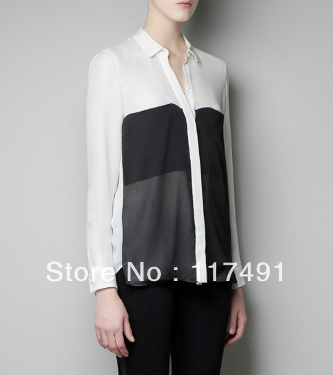 57d07b7445 Spring Autumn New Fashion for Women Black and White hit color Splice  Chiffon Blouses Office Lady Elegant Design Slim Shirts 068