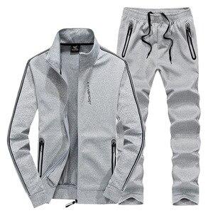 Image 3 - AmberHeard traje deportivo para hombre, chaqueta + pantalón, conjunto de dos piezas, chándal, ropa de talla grande, primavera y otoño, 2020