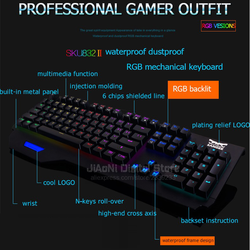 Sangee CK104 Anit ghosting Gaming Mechanical Keyboard Computer Ergonomic RGB LED Backlight cs go Bloody Gamer Teclado Mecanico-in Keyboards from Computer ...