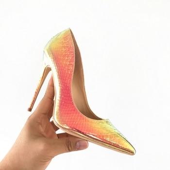 2019 Nova moda mulher sapatos de cobra impressão festa sapatos de casamento tamanho grande 35-42 sexy dedo apontado sapatos de salto alto bombas sapatos femininos 1