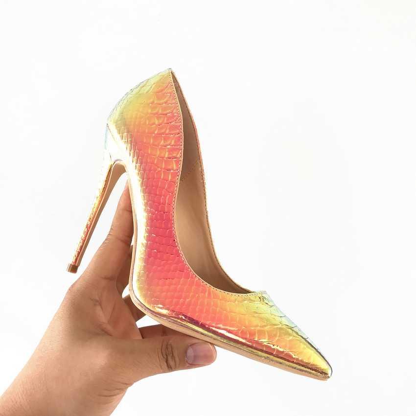 2020 yeni moda kadın ayakkabı yılan baskı parti düğün ayakkabı büyük boy 35-42 seksi sivri burun yüksek topuklu kadın ayakkabı pompaları