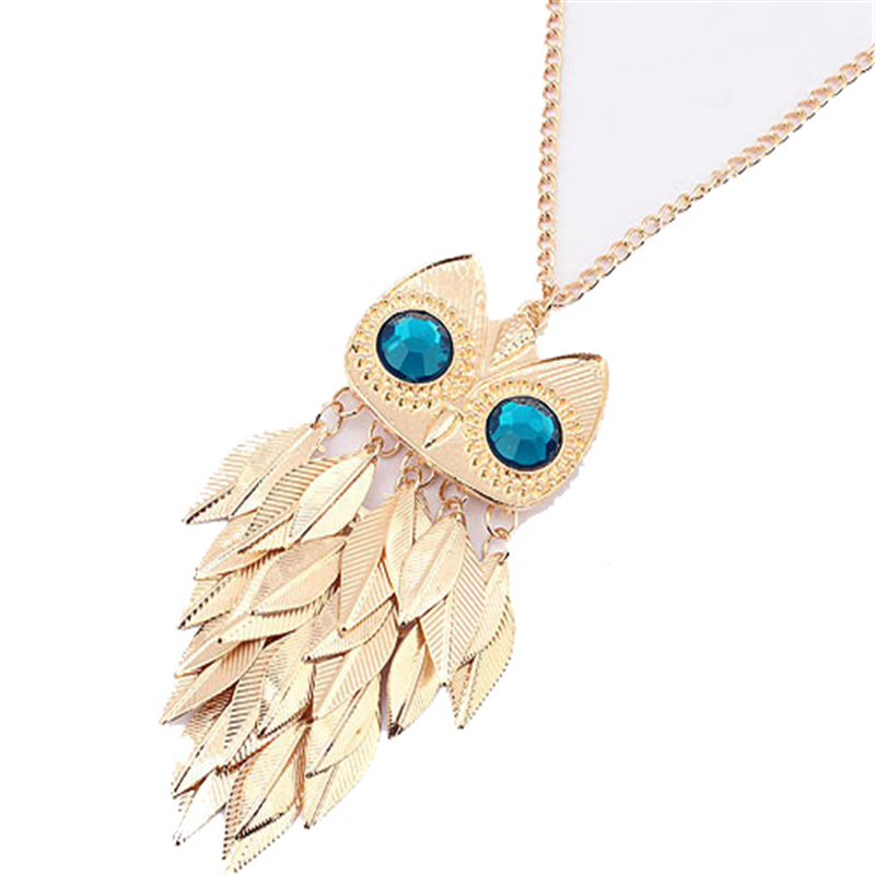 Newest Vintage Bohemian Necklace Jewelry Leaves Tassel Owl Charm Chain Long Women Pendant Necklace