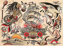 Alta qualidade criativo tatuagem padrão cartazes adesivo de parede 30x42 cm nostalgia retro kraft papel inkjet impressão arte decoração