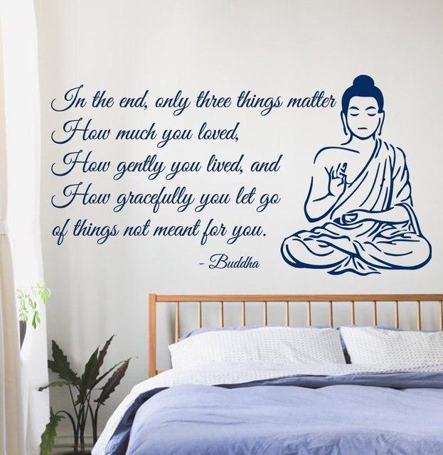 Boeddha muurstickers citaat alleen drie dingen kwestie yoga gym ...