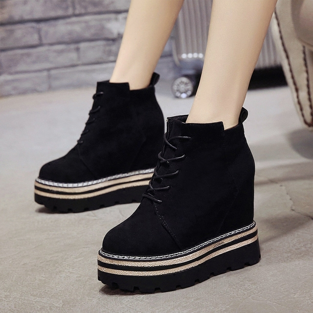 SWYIVY Women s Casual Ankle Boots Shoes Platform 12cm Wedge Autumn 2018  Female Sneakers Winter Sneakers Platform Short Boots 6aa35cbc9373