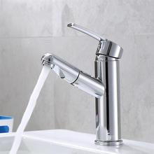 Basin Water Tap Cold And Hot Single Hole Faucet Durable Sink Faucet Pull Out Mixer Tap Swivel Copper Faucet Home Accessories copper hot and cold pull out type kitchen faucet rotating retractable belt shower vegetables basin sink brushed