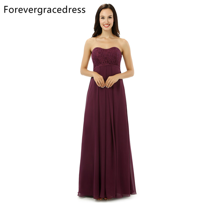 Forevergracedress Real Photos Burgundy Color Bridesmaid Dress Simple A Line Chiffon Lace Long Wedding Party Gown Plus Size