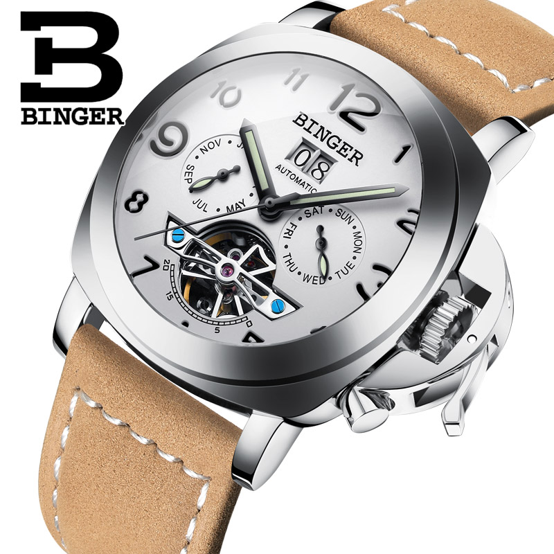 Cool Military Men Tourbillon Watches Self-wind Mechanical Real Leather Luminous Wristwatch Calendar Week Month Analog Watch 5barCool Military Men Tourbillon Watches Self-wind Mechanical Real Leather Luminous Wristwatch Calendar Week Month Analog Watch 5bar