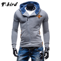 T Bird Hoodie Men 2017 Cardigan Fashion Hoodies Personality Oblique Zipper Men S Hoodie Sweatshirt Brand
