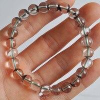 A+++ 8MM Natural Green Phantom Crystal Round Beads Bracelet Stretch 8 Jewelry G801