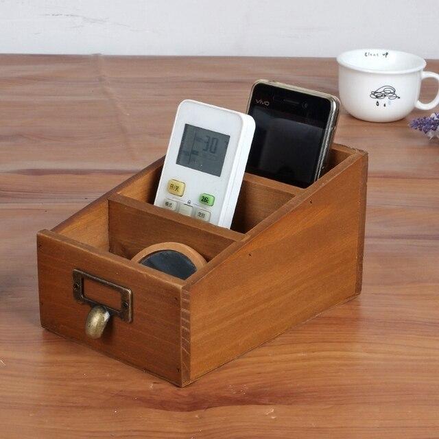 new retro wooden box desktop organizer Remote controller holder