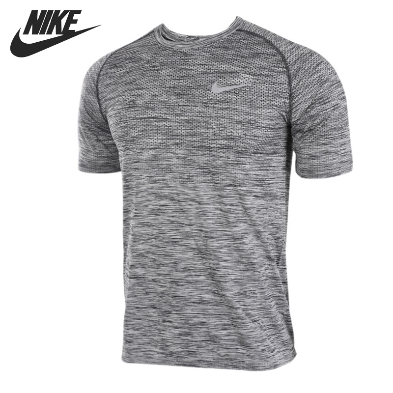 Original New Arrival NIKE DF KNIT TOP SS Men's T-shirts short sleeve Sportswear knit cold shoulder bottoming t shirts in black