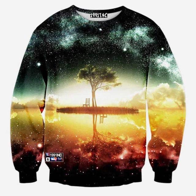 Space/galaxy 3d sweatshirt men 3d hoodies harajuku style funny print nightfall trees hombre sudadera