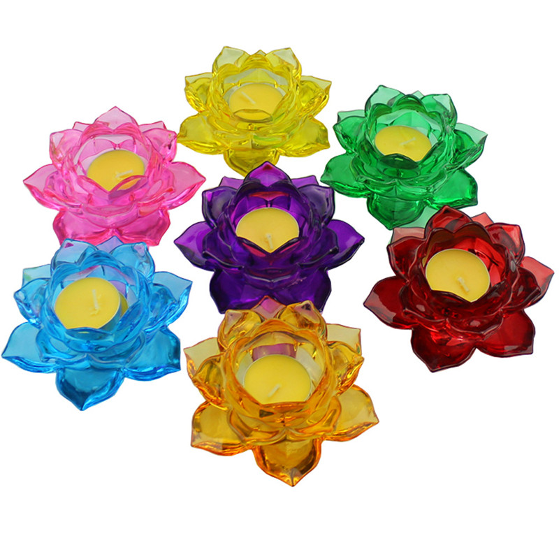Home & Garden Crystal Flower Candle Holder Miniature Lotus Glass Table Candlestick Home Decoration Accessories Birthday Party Decor Ornament Candle Holders