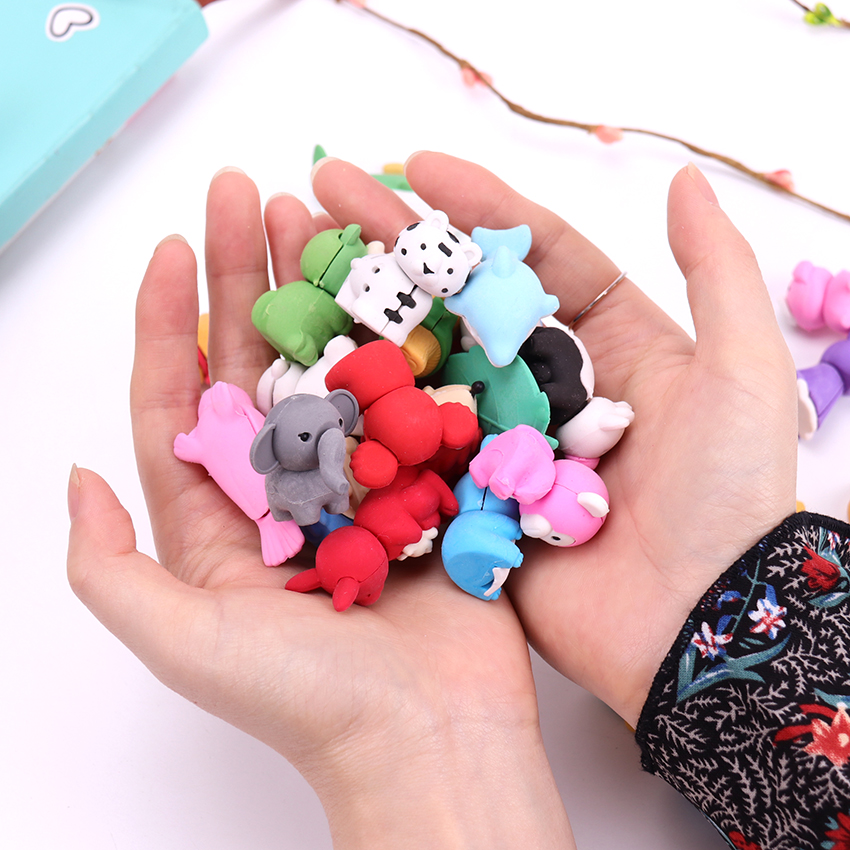 1PC Cute Animal Style Kawaii Eraser Pencil Novelty Stationery School Supplies Kawaii Material Cute Erasers Hot