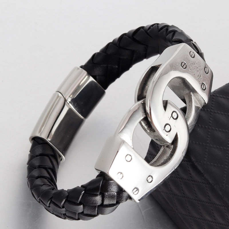 stainless steel handcuffs bracelet pulsera cuero hombre handmade Braided Black Genuine leather bracelet erkek bileklik jewellery