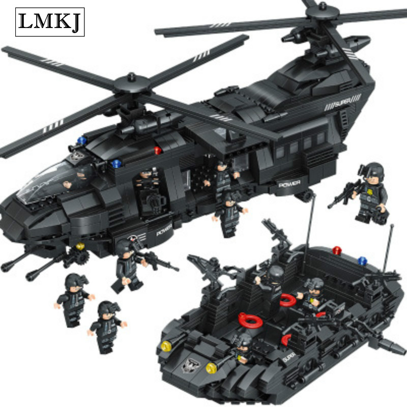 LMKJ 1351PCS Military City Police SWAT Team Transport Helicopter Building Blocks Bricks Toy Compatible with Legoingly for Kids стоимость