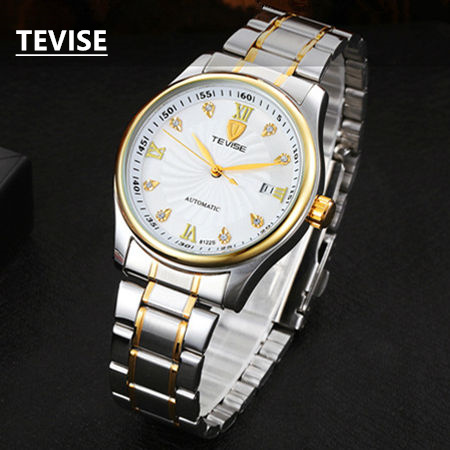 New Arrival Men's Self-Wind Mechanical Watch Fashion Waterproof Calendar Watches Golden And White Dial Men Watches B027