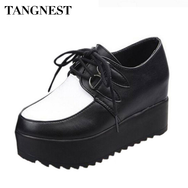 Tangnest Women's Creepers Solid Lace-up PU Leather Flat Shoes Stitching Platform Shoes Woman Spring Summer Fashion Flats XWC039 de la chance 2018 spring summer women shoes woman harajuku flats lace up casual fashion ladies creepers platform shoes white