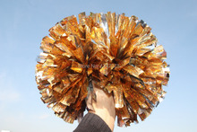 free fast shipping cheerleader pom pom 1,000*3/4″ wide streamers 6″ sizes holographic gold