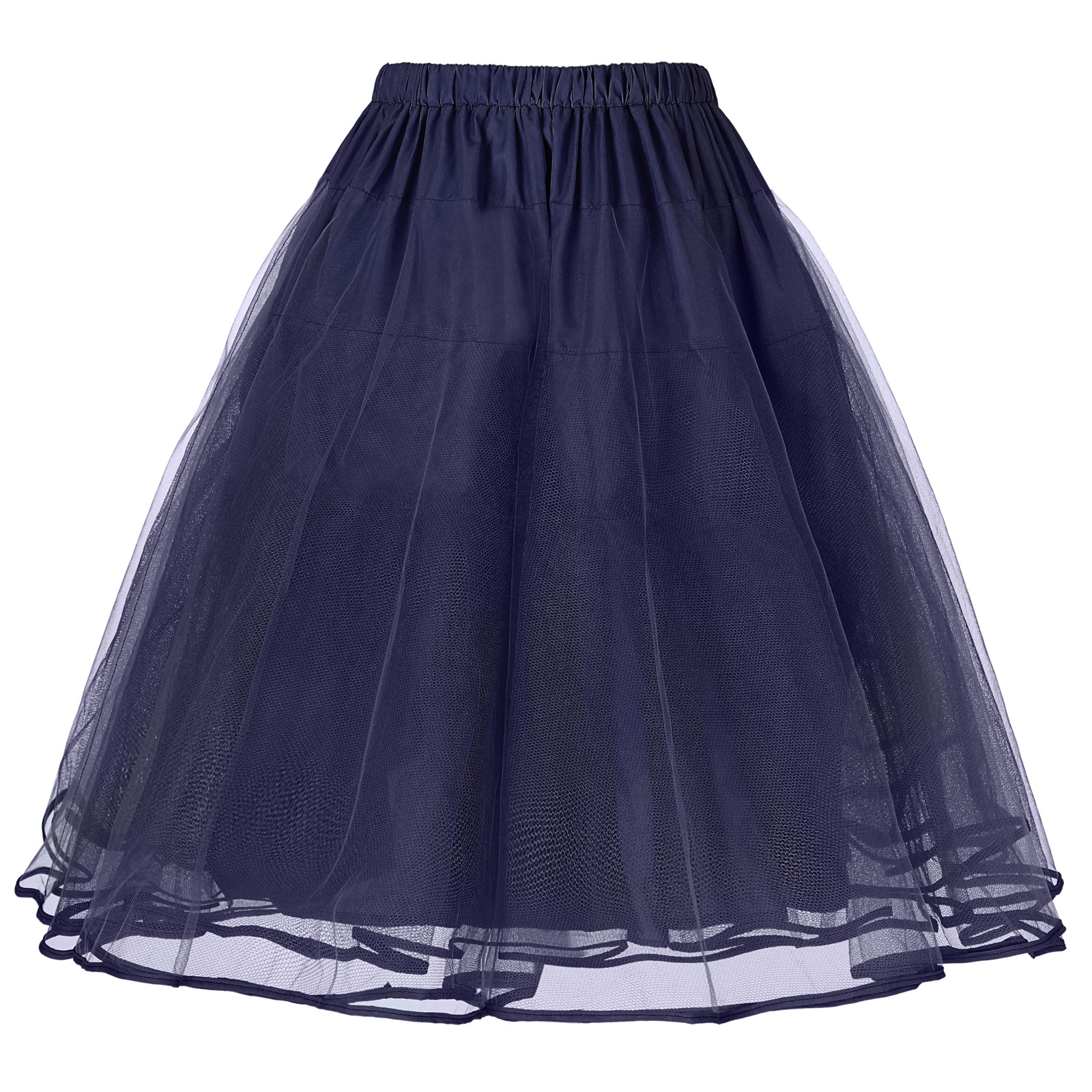 New Fashion Women's Luxury Retro Skirt Vintage 3 Layers Tulle Netting Petticoat  Women's High Waist Pleated Solid Color Half Len