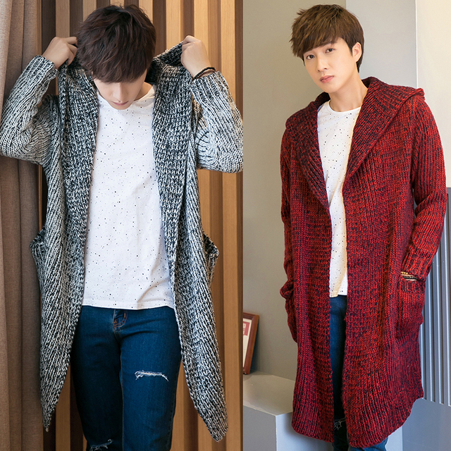 2018 Spring Loose Long Mens Cardigans Sweaters New Fashion Big Size Jumpers  Mens Hooded Sueter Knit Sweater Jersey Sudaderas 6bd984efa