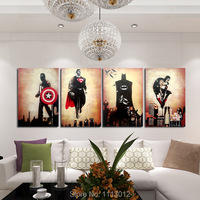 Hand Painted Abstract Marvel Comics Heroes Oil Painting On Canvas Retro Movie Star Batman Hulk Captain