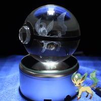 Leafeon Design Figurines Crystal Poke Ball 3D Pokemon Miniatures With LED Base Room Decorations