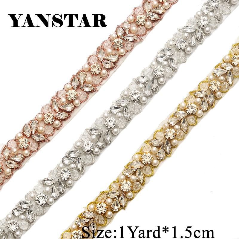 YANSTAR Bridal Wedding Dresses Belt Pearls Rhinestone Appliques Trim 1 Yard  For Bridal Sash Rose gold d520637414b8