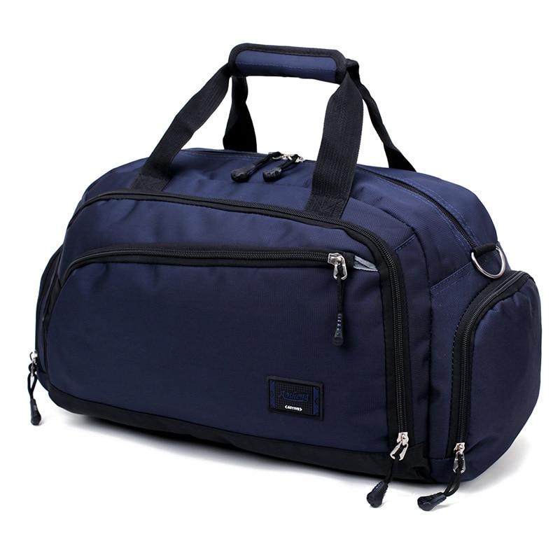 Лидер продаж, водонепроницаемая нейлоновая сумка для путешествий, Мужская модная сумка для переноски на выходные, винтажные повседневные спортивные сумки на плечо, женская сумка для сна - Цвет: Синий