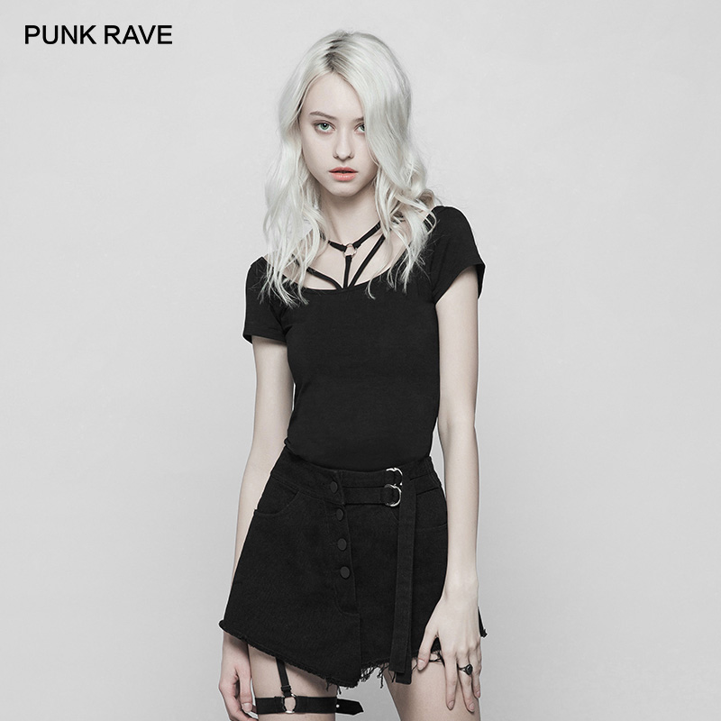 PUNK RAVE Women's Goth Dark Classic Tight Strappy T shirt Slim Breathable Stretch Tops Tees Harajuku Women T Shirt