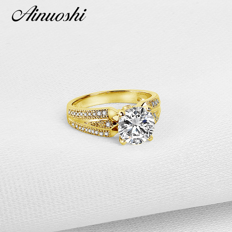 AINUOSHI Real 14K Solid White/Yellow Gold Engagement Ring Luxury 7mm Round Simulated Diamond Wide Band Women Wedding Bridal Band