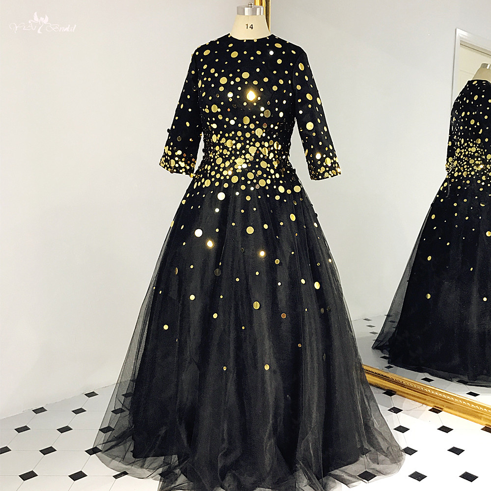 RSE869 A Line Modest 2019 Sequin Black And Gold Prom Dress