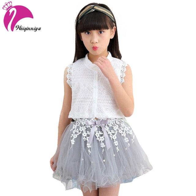 Girls Dress Summer 2017 Small Beauty Brand New Children Girls Clothing Sets Summer Lace Design For Girl