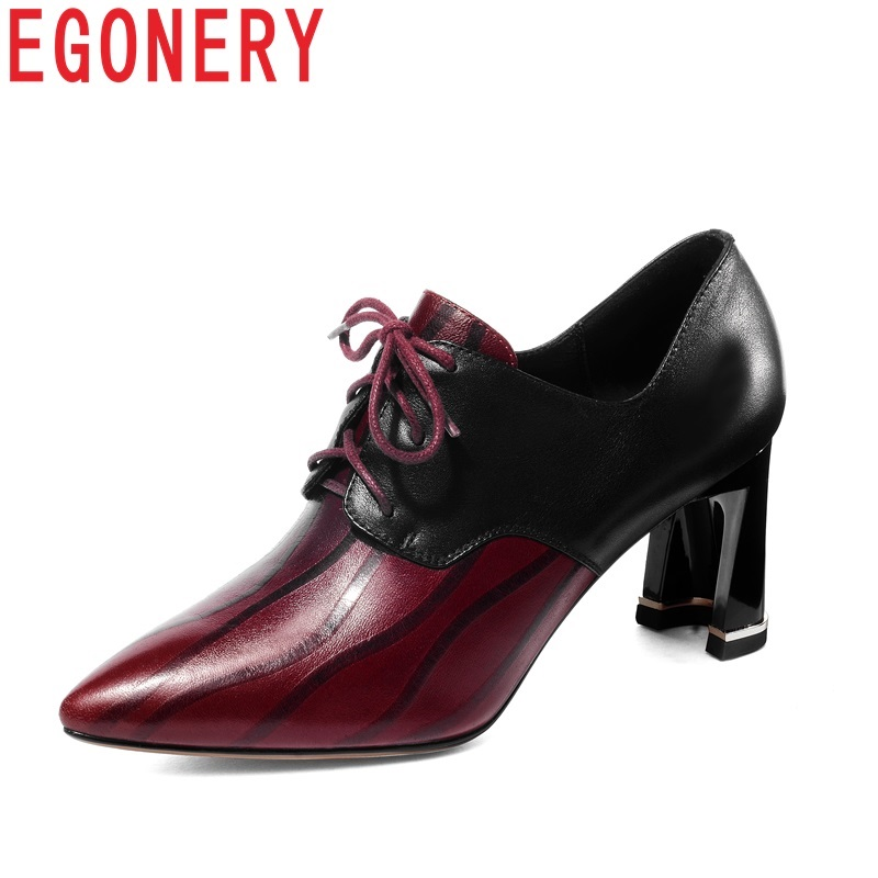 EGONERY women shoes new genuine leather pointed toe cross-tied lace-up high hoof heels stripe outside fashion sexy ladies pumps цены онлайн