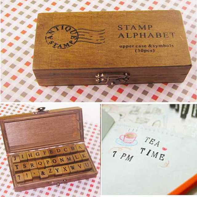 New 30pcs Retro Wooden Uppercase Alphabet Capital Letters Rubber Stamps Set