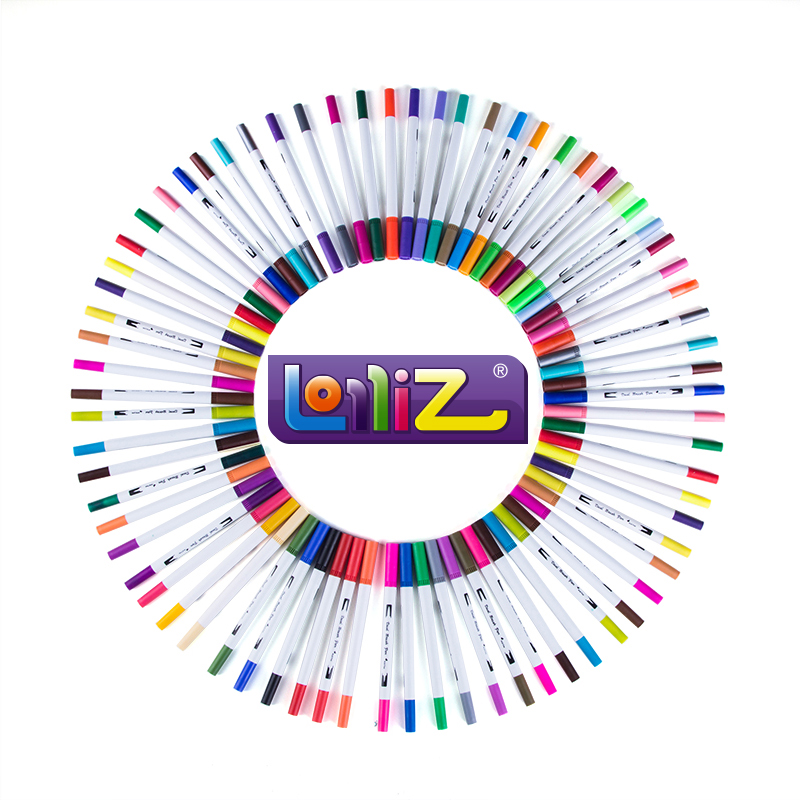 LolliZ 60Color Watercolor Brush Art Marker Set Double Tip Fineline Color Pen Water Based Brush Marker