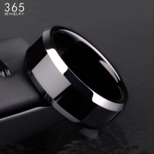 New Design 8mm Width Black Titanium Stainless Ring For Women Men High Quality Couple