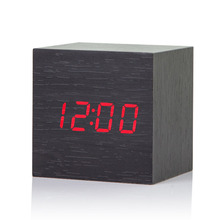 2017 Acoustic Control Alarm Wood cube font b Clock b font LED Calendar Creative Thermometer Electronic