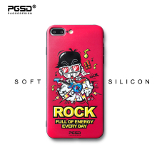 PGSD Original Personality Cute ROCK Cartoon Guitarteenager for iPhone 6s 7 8 Plus Relief Soft TPU Painted Phone Cases Back Cover