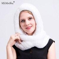MS.MinShu Real Fur Hat with Scarf Women Winter Cap Real Rex Rabbit Fur Hooded Scarf Lady's Winter Hat Head Warmer Fur Cap Scarf