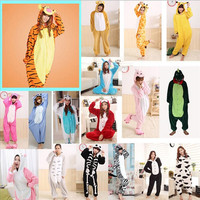 2017 Adults Flannel Pajamas All In One Pyjama Animal Suits Unisex Men Winter Homewear Cute Cartoon