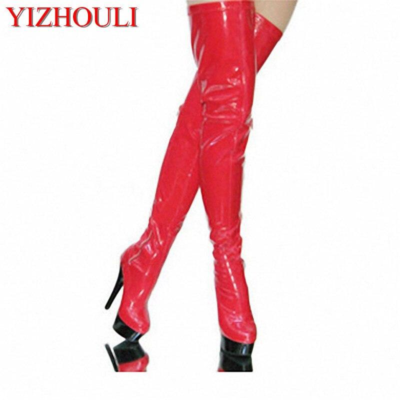 여자 15 cm 높은 얇은 발 뒤꿈치 빨간 플러스 크기 무릎 긴 스틸 레토 허벅지 높은 부츠 6 인치 섹시한 클럽 장대 댄스 부츠-에서무릎위 부츠부터 신발 의  그룹 1